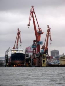 Werft im Hafen von Göteborg